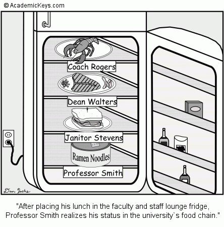 Cartoon #9, After placing his lunch in the faculty and staff lounge fridge,